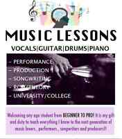 Music lessons - DRUMS GUITAR BASS VOCALS PIANO PRODUCTION