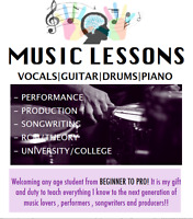 1on1 MUSIC LESSONS - DRUMS GUITAR BASS VOCALS PIANO PRODUCTION