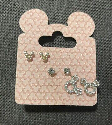 3 pair set Disney Mickey Mouse Girls Lady Small Crystal Earrings Ear Studs BNWT