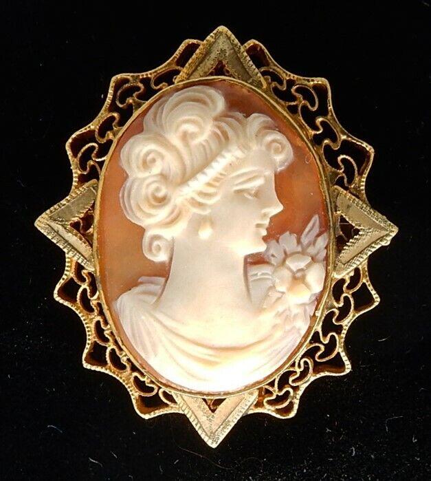 "Antique / Vintage 1 3/8"" Gold Filled Carved Shell Cameo Pendant / Brooch"