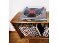Record player turntable with vinyl records wanted for a present