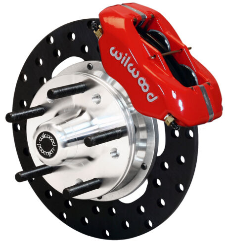 "Wilwood Drag Disc Brake Kit,front,64-74 Gm,10.75"" Drilled Rotors,red Calipers"