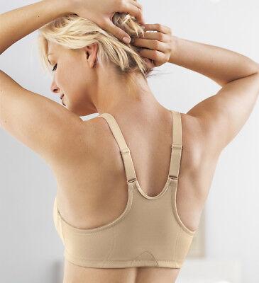 NEW Bra msrp $42 FRONT-CLOSE Satin & Lace RACERBACK (Wicks-U-Dry) Nude - Adjustable Strap Front Close Bra