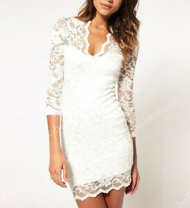 Fashion Women Sexy V-neck Lace Slim Ladies Cocktail Clubbing Party Mini Dress