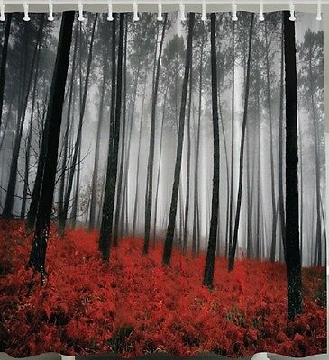 Curtains Ideas black shower curtain with white flower : Woods Black White Mystic Trees Fabric SHOWER CURTAIN Flowers ...