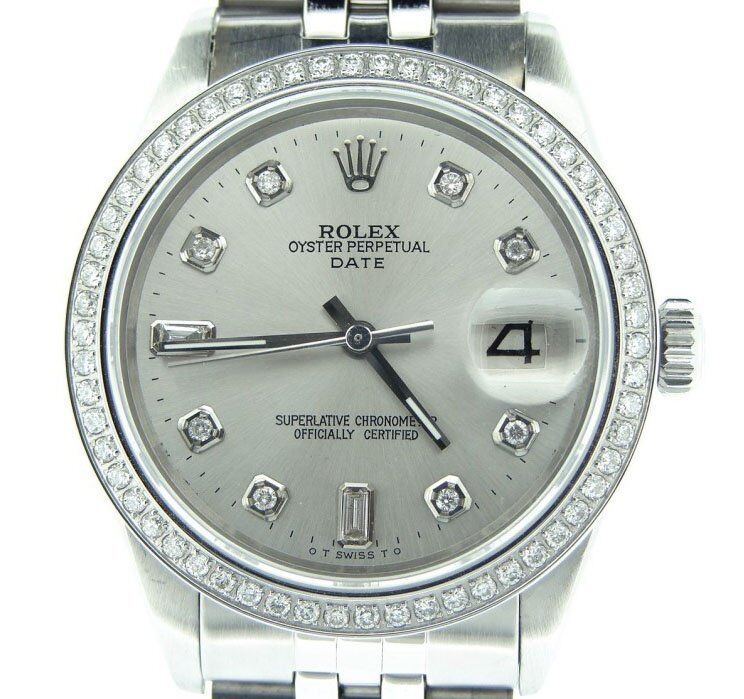 Mens Rolex Date Stainless Steel Watch Jubilee Silver Diamond Dial Diamond Bezel