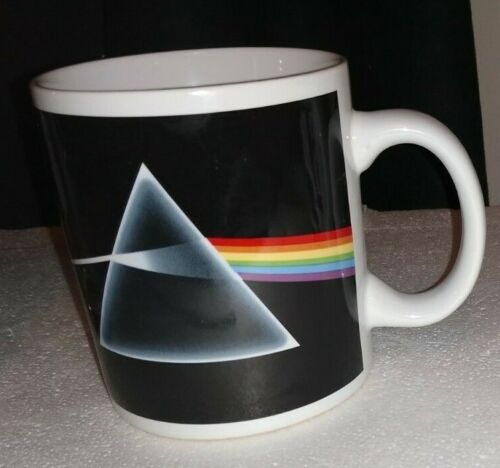 Pink Floyd~ Dark Side of the Moon~ Cup Mug Triangle Rainbow Design Hard to Find