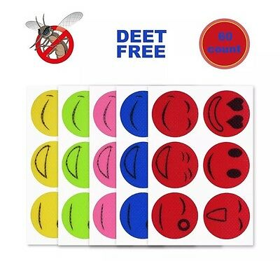 60pcs Mosquito Repellent Insect Bug Repel Stickers Citronella Oil Smile Face ()