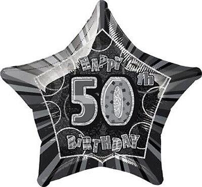 Folienballon HAPPY BIRTHDAY Zahl 50 Geburtstag Heliumballon Schwarz/Silber 50cmØ ()