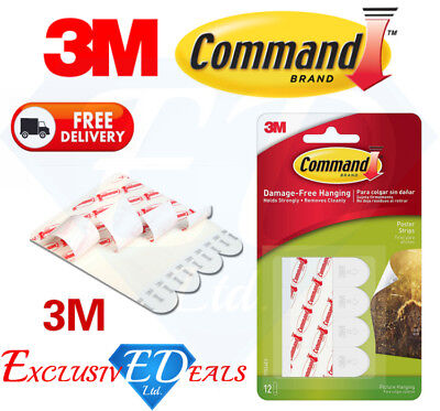 3M COMMAND Poster Strips Pack of 12 Damage Free Poster Picture Hanging...