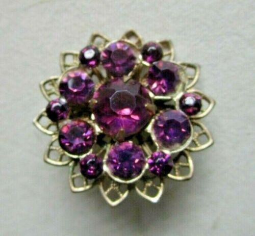 Vintage Statement Brooch Pin Purple Rhinestone Gold Tone Filigree *SHIPS FREE*