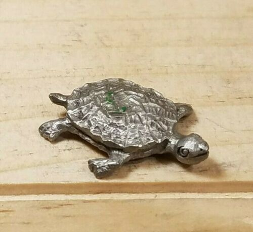 New Pewter Turtle Figurine Vintage Cute Miniature Statuette - Swanky Barn