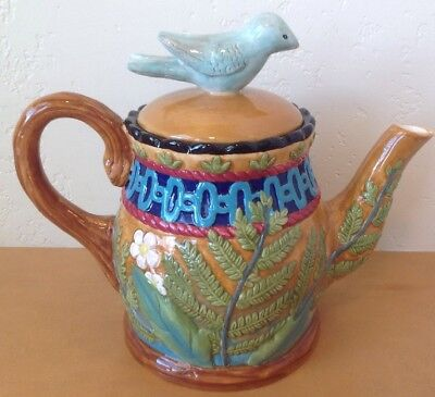House Of Hatten Bird Teapot Embossed Leaves Flowers Peggy Fairfax Herrick RARE!
