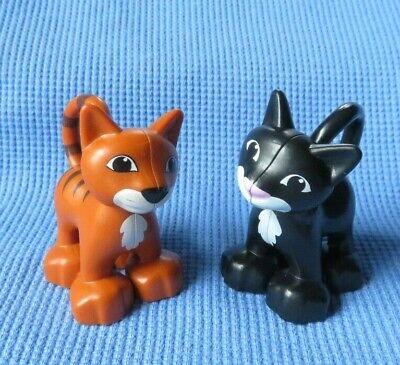 Lego Duplo BLACK KITTY CAT & BROWN ORANGE KITTEN HOUSE PET ANIMALS LOT