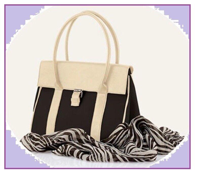 moderne Damen Handtasche schwarz beige + GRATIS Chiffon Schal Leo / Neu ! OVP