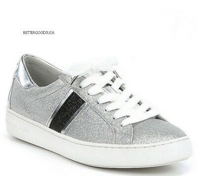 MICHAEL KORS women's KEATON STRIPE SNEAKERS Lace Up SHOES Silver Grey, Black 7 M