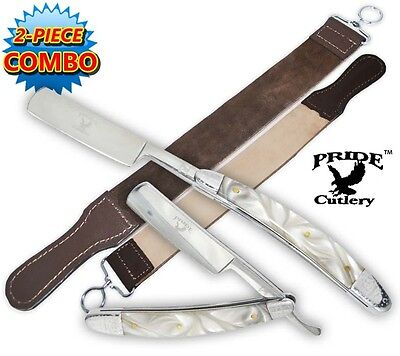 Shaving Straight Razor & Leather Sharpening Strop White Pearl Handle Razors