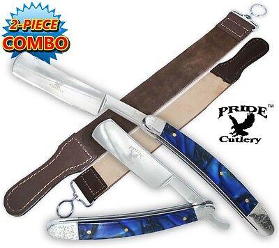 Blue Handle Folding Shaving Straight Razor & Leather Sharpening Strop