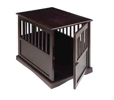 Dog Crate End Table Solid Wood Pet Kennel Indoors Stylish Safe Espresso Large
