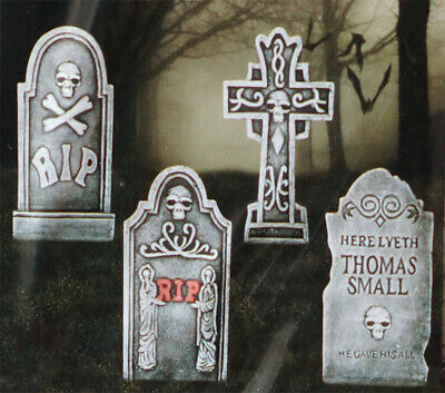 Scary Graveyard Reaper Rip Foam Tombstone Set Of 4 For Halloween Prop Decoration - Cemetery Decorations For Halloween