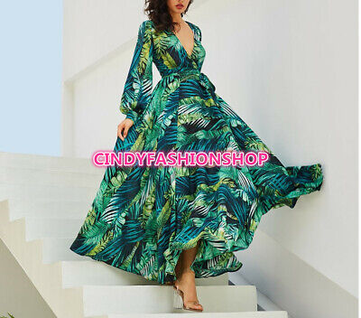 USA  Women Long Sleeve Tropical Beach Vintage Maxi Boho Casual V-Neck Belt Dress
