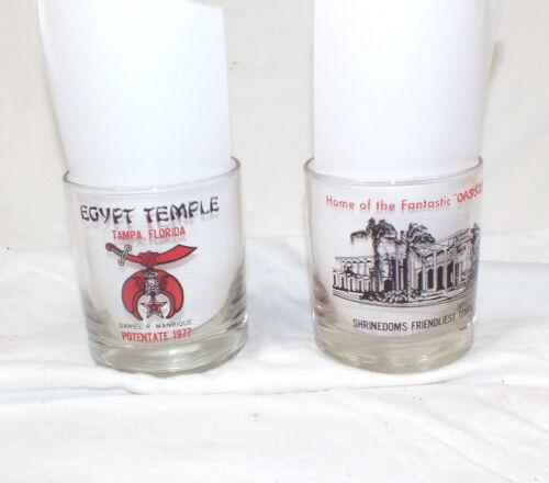 SET OF 2 SHRINERS 1977 EGYPT TEMPLE OASIS CLUB GLASS TAMPA FLORIDA