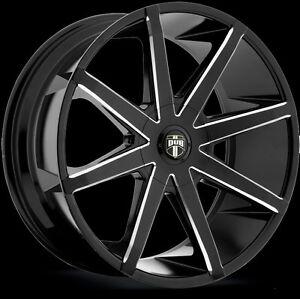 22-DUB-Push-Wheel-SET-22x9-5-Black-Milled-RIMS-5-6-Lug-Part-S109-22INCH
