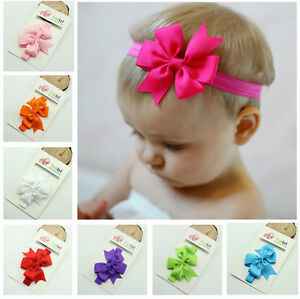 10pcs Grosgrain Kids Baby Girl Toddlers Hair Band Bow Headbands Accessories