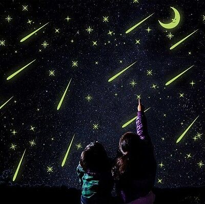 Wall Stickers Luminous Glow In The Dark Stars Moon For Kids Bedroom Room Decor - Glow In The Dark Decorations For Room