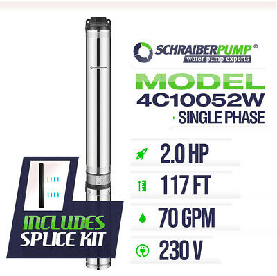 Schraiberpump 4 Deep Well Submersible Pump 2hp 230v 143ft 75gpm 63maxpsi 2wire