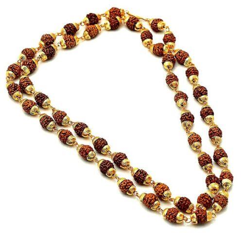 Rudraksha Mala With Gold Plated Cap 5 Mukhi Rudraksha Beads Energized