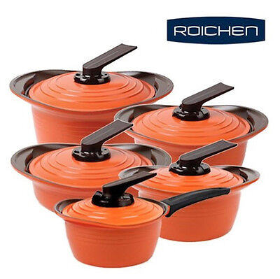 ROICHEN Premium Ceramic Nonstick Saucepan,Casserole 5 Pots Cookware Set Free EMS
