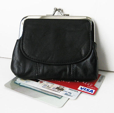 Black Genuine Leather Metal Clasp coin purse with Flap Top Credit Card Holder