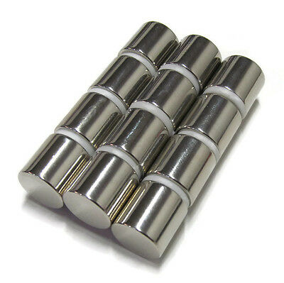 N52 Cylinder Magnets 12x12 .5 Inch 12 Pcs Neodymium Rare Earth 13mm 18lb 8kg