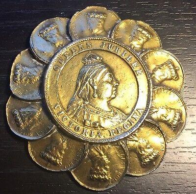 Vintage 1890s Queens Jubilee Victoria Regina Medallion Medal Brass Tone Coin