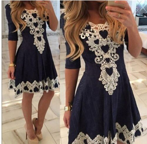 Dress - Women's Summer Casual Lace Half Sleeve Party Evening Cocktail Short Mini Dress