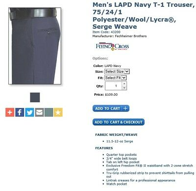 Flying Cross Mens Uniform Polyester/Wool Pants/Trousers_Police_Fire_Security_EMS ()