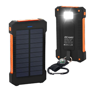 10,000mah Portable water resistant solar power bank fast charger