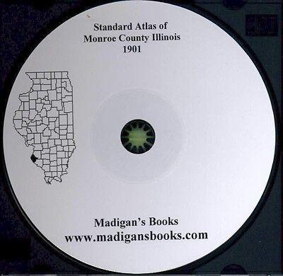 Monroe County Illinois 1901 Atlas Plat Genealogy history Columnia Waterloo IL CD