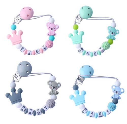 DIY Schnullerkette mit Namen ☆ Silikon ★ Krone ☆ Häkelperle ★ Geburt Nuckelkette
