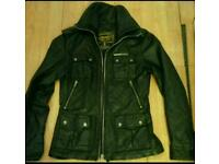 Superdry black real leather jacket.as new.size small.8 - 10