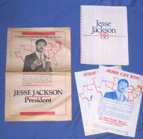 1988 VINTAGE Lot 4 Jesse Jackson for President Campaign Material Platform Flyers