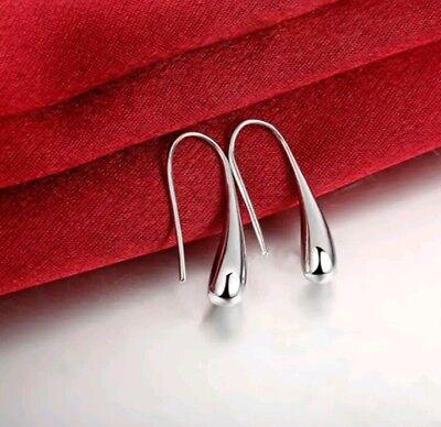 Silver Teardrop Earring Charm (NEW Womens 925 Sterling Silver Elegant Teardrop Charm Fashion Earrings)