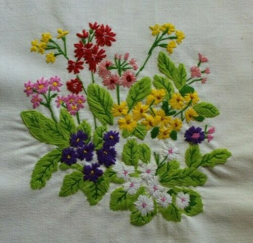 Multi Colored Flowers Bouquet Purple Red Crewel Embroidery Completed Finished