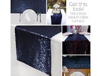 4 navy-blue sparkly sequin table runners - BRAND NEW