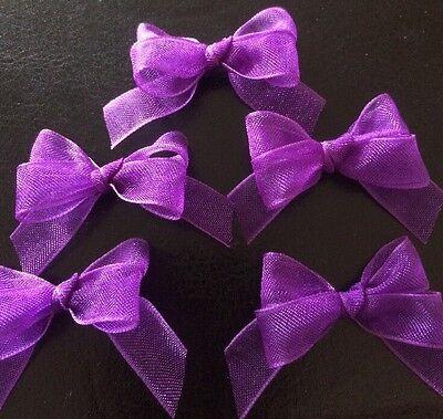 15 Small 3cm Purple Organza Bows/Card Making/Cupcakes