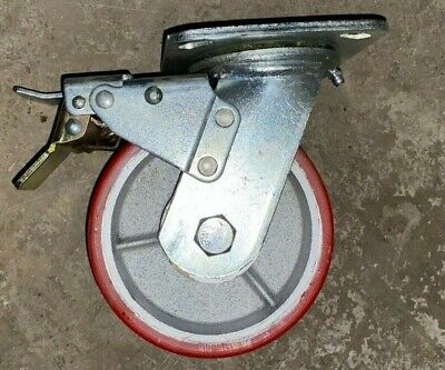 Heavy Duty Locking Swivel Caster Wheel 5 Red 6.5 Total Height