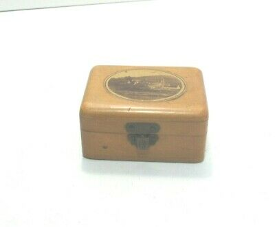 ANTIQUE MAUCHLINE TRANSFER  WARE SMALL BOX  TINTERN ABBEY WALES