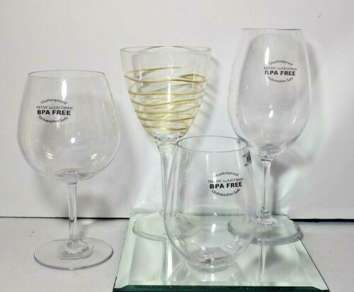 4 ASSORTED MERRITT SHATTERPROOF WINE GLASSES NEW WITH TAGS