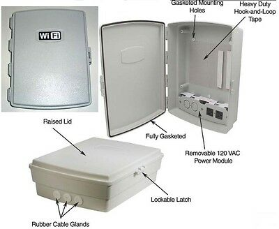 Waterproof WiFi Indoor Outdoor Weatherproof Enclosure Box W/ 120 VAC Power Panel